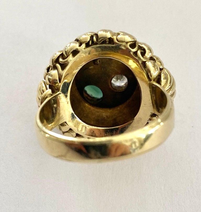One '1' 14 Karat Gold Ring, Cocktail Model, 1 Diamond, 1 Tourmaline, 1 Pearl For Sale 3