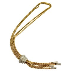 One '1' 18 Karat, White and Yellow Gold Y Necklace Made by Brasolin Milan, Italy