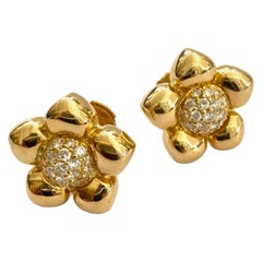 One '1' 18 Karat Yellow Gold Pair of Earrings, Set with 38 Diamonds, France 1970