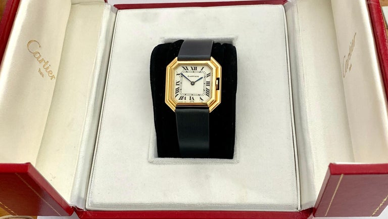One '1' 18 Karat Yellow Gold Cartier Wristwatch Model Cienture Automatic, 1975 For Sale 1