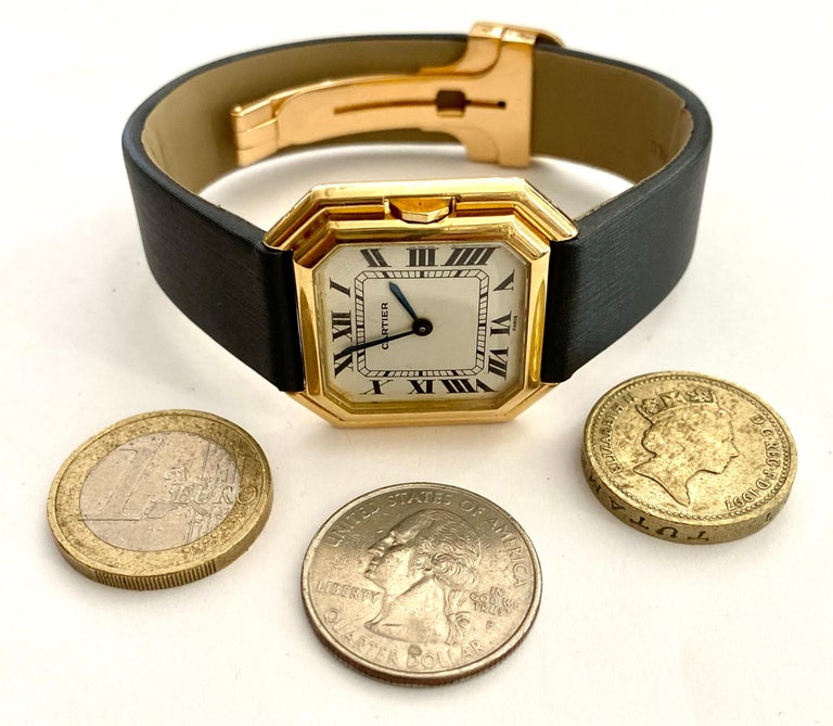 One '1' 18 Karat Yellow Gold Cartier Wristwatch Model Cienture Automatic, 1975 For Sale 4