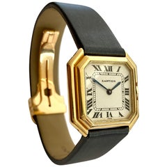 One '1' 18 Karat Yellow Gold Cartier Wristwatch Model Cienture Automatic, 1975