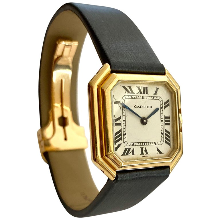 One '1' 18 Karat Yellow Gold Cartier Wristwatch Model Cienture Automatic, 1975 For Sale