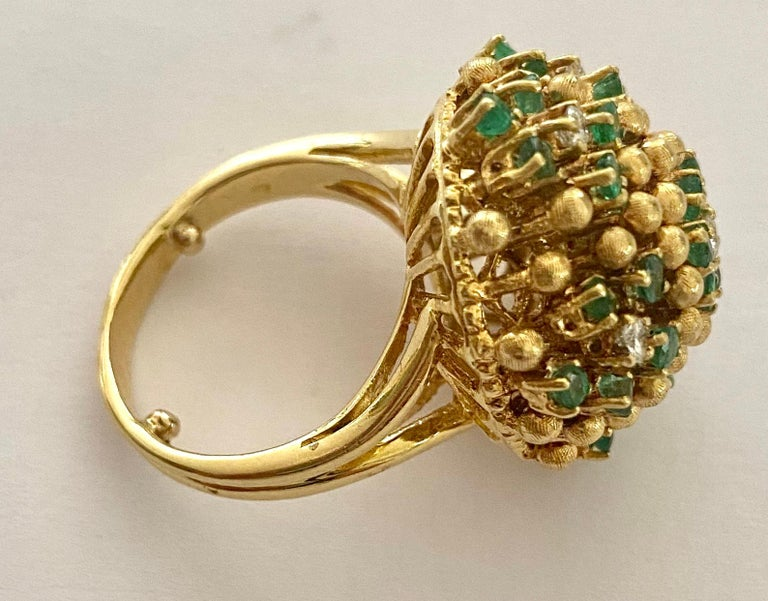 Brilliant Cut One '1' 18 Karat Gold Cocktail Ring Set with Diamonds and Emeralds, Italy, 1960 For Sale