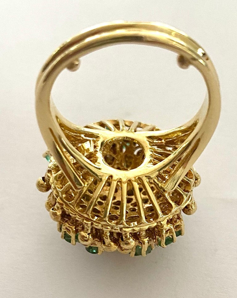 Women's One '1' 18 Karat Gold Cocktail Ring Set with Diamonds and Emeralds, Italy, 1960 For Sale