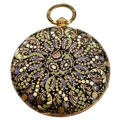 One '1' 18 Karat Yellow Gold Emaille Pocketwatch, Geneva, 1800