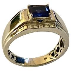 One 18 Karat White Gold Sapphire/Diamond Ring