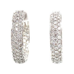 One 18k White Gold Custom Made Lady's Diamond Inside Out Pair of Huggies Style