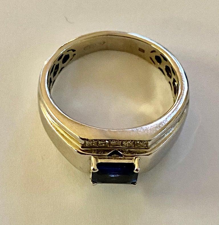 Emerald Cut One 18 Karat White Gold Sapphire/Diamond Ring For Sale