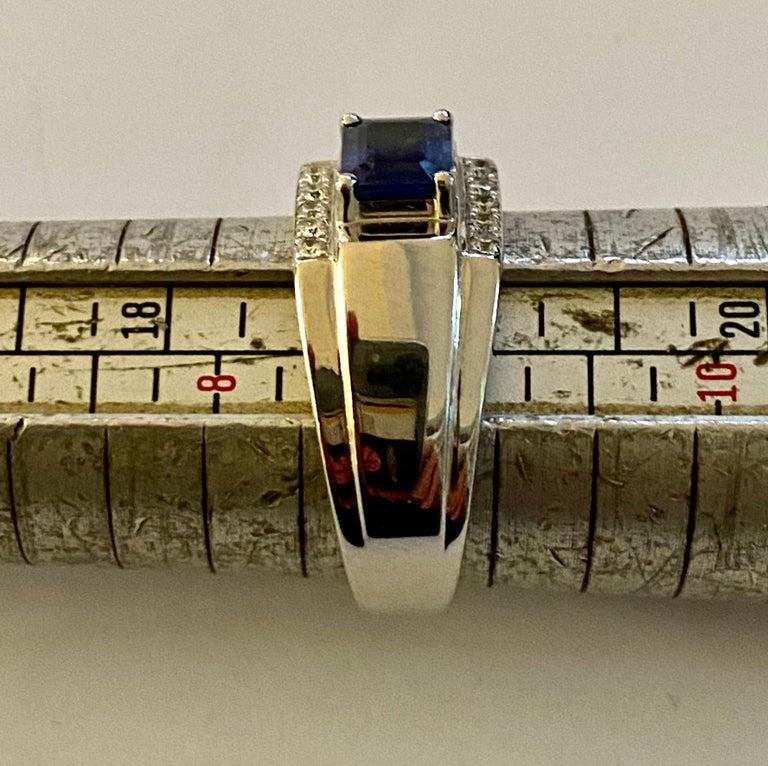 Women's One 18 Karat White Gold Sapphire/Diamond Ring For Sale