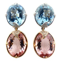 One 18k White/Red Gold Pair of Earrings with Aquamarines, Morganites, Diamonds