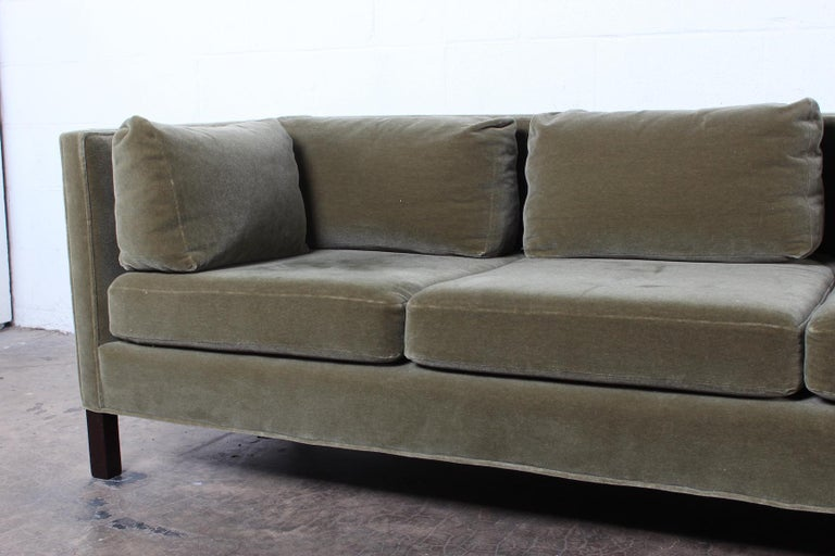 A one arm sofa designed by Edward Wormley for Dunbar in mohair.