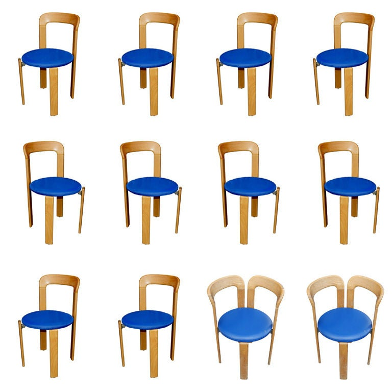 One chair designed by Bruno Rey and made by Stendig. One side chair with upholstered seat in a royal blue leather.  4 side chairs 2 armchairs available  Price is per chair.