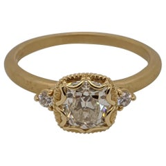 One Carat Antique Cut Cushion Diamond Ring in 18 Karat Yellow Gold, GIA