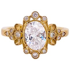 One Carat Diamond Engagement Ring, Fancy Halo, 14 Karat Gold, Oval Vintage