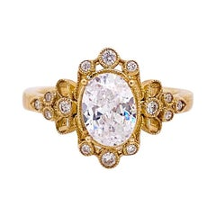 One Carat Diamond Engagement Ring, Fancy Halo, 14 Karat Gold, Oval Vintage