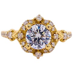 One Carat Diamond Engagement Ring, Fancy Halo, 14 Karat Gold, Round Brilliant