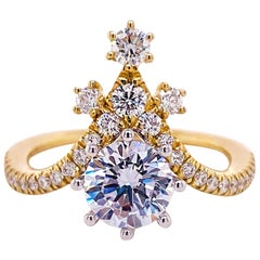 One Carat Diamond Engagement Ring, Star Point, Yellow Gold, 1.48 Carat Total