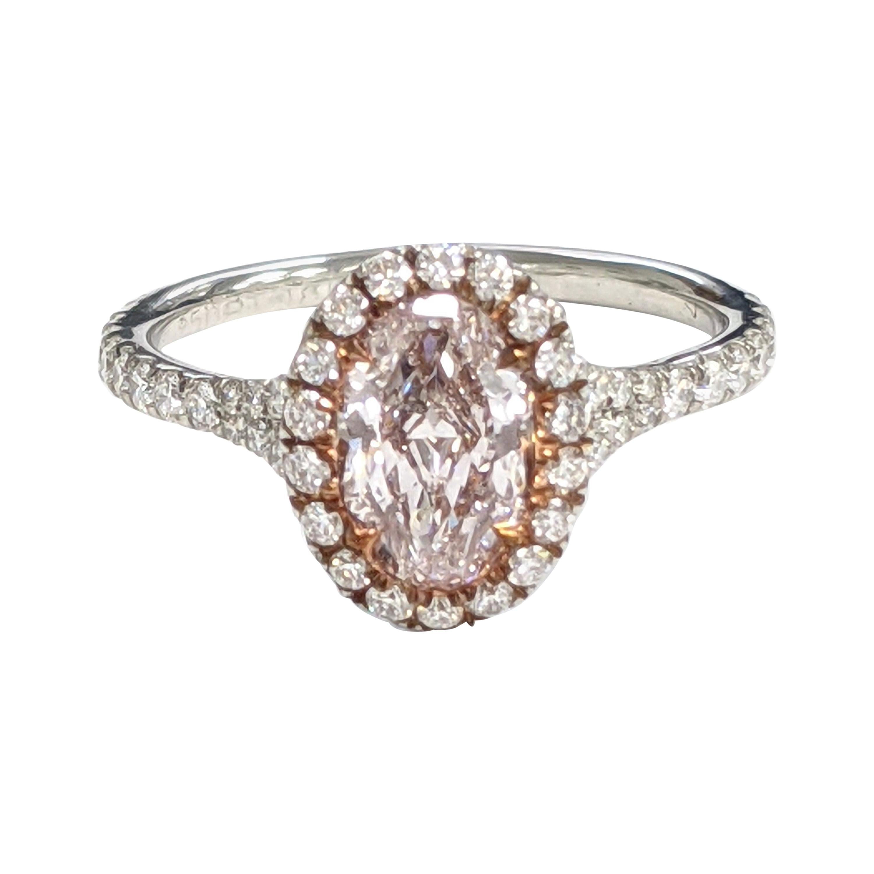 One Carat Light Pink Oval Diamond Ring Internally Flawless, GIA