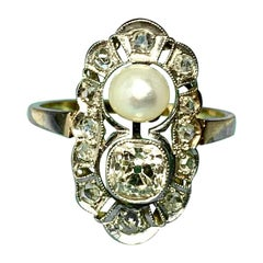 One Carat Old Mine Cut Diamond Platinum Pearl Engagement Ring Antique Victorian
