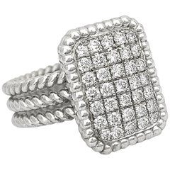"""One Carat Pavé Diamond """"Shield"""" Statement Ring in White Gold"""