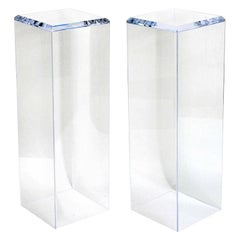 One Custom Lucite Pedestal with Beveled Edge Top