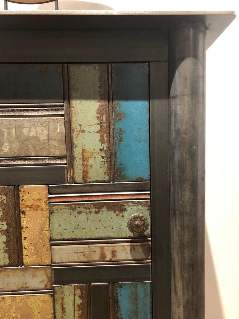 Mid-Century Modern Jim Rose One Door Blue Green Basket Weave Quilt Cupboard, Steel Art Furniture For Sale