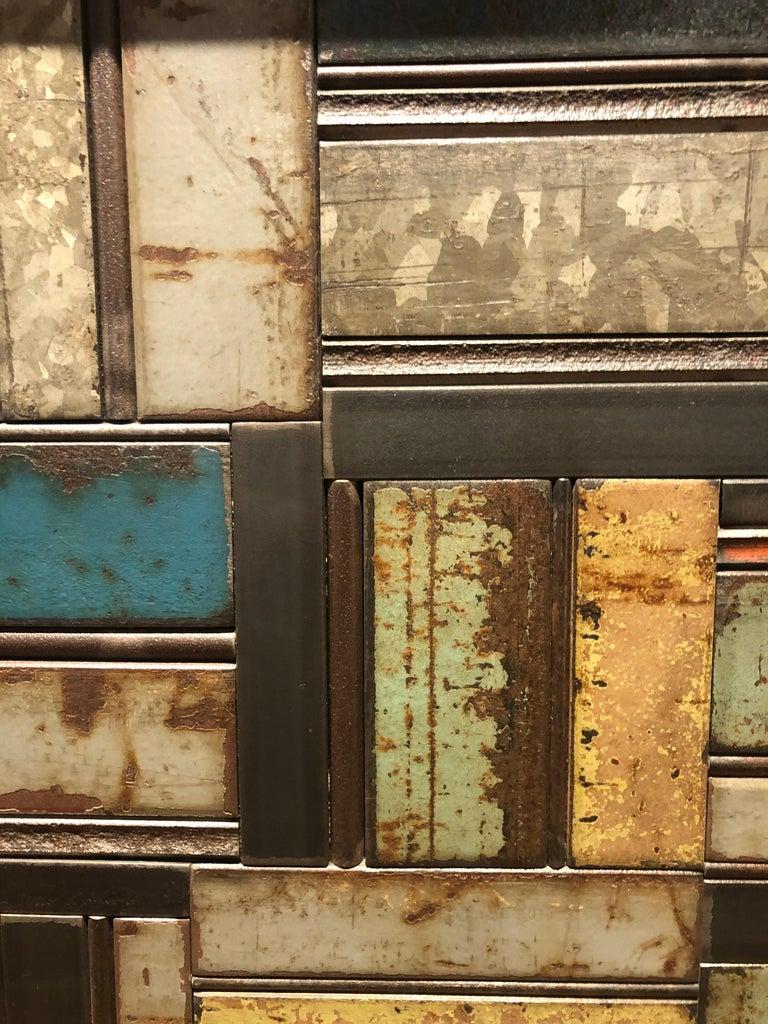 American Jim Rose One Door Blue Green Basket Weave Quilt Cupboard, Steel Art Furniture For Sale