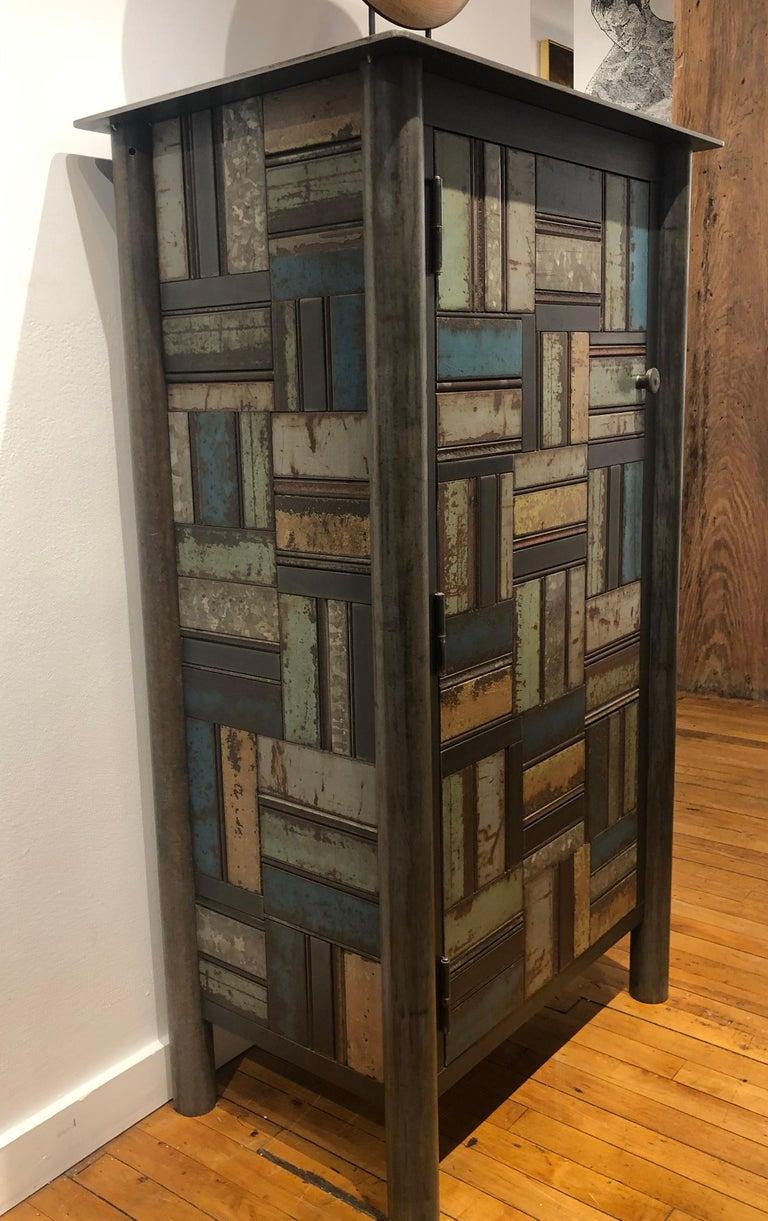 Welded Jim Rose One Door Blue Green Basket Weave Quilt Cupboard, Steel Art Furniture For Sale