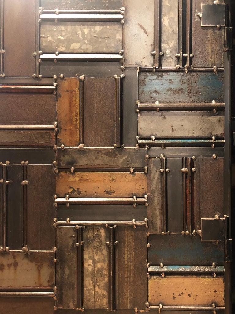 Contemporary Jim Rose One Door Blue Green Basket Weave Quilt Cupboard, Steel Art Furniture For Sale