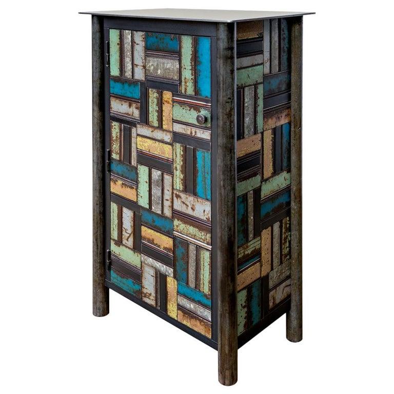 Jim Rose One Door Blue Green Basket Weave Quilt Cupboard, Steel Art Furniture For Sale