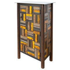 Jim Rose One Door Black and Yellow Basket Weave Quilt Cupboard, Steel Furniture