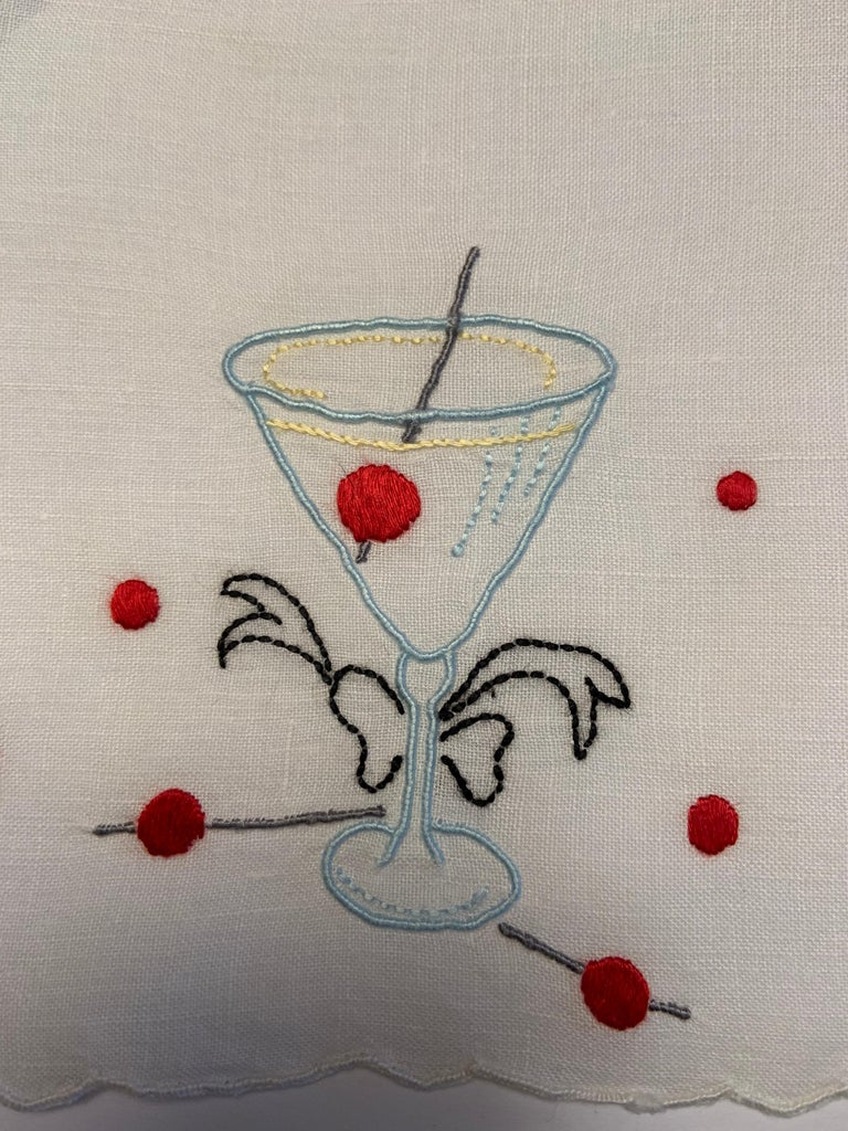 One Dozen 1950's Embroidered Linen Cocktail Napkins with A Perfect Manhattan For Sale 1