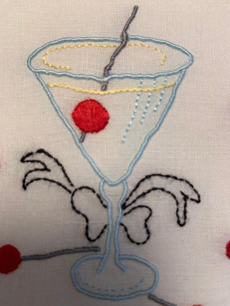 One Dozen 1950's Embroidered Linen Cocktail Napkins with A Perfect Manhattan For Sale 2