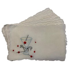 One Dozen 1950's Embroidered Linen Cocktail Napkins with A Perfect Manhattan