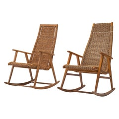 One Dutch Rocking Chairs in Cane, 1950s