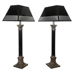 One Empire Style Silvered and Black Engraved Metal Table Lamp, France, 1930s