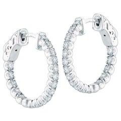 Diamond Hoop Earrings Inside Out 1.35 Carat
