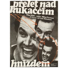 'One Flew Over the Cuckoo's Nest' Original Vintage Movie Poster, Czech, 1978