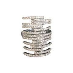 Gatsby Multi Bar Diamond Ring in 18 Karat White Gold by Messika