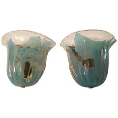 One Great Looking Set of Clear and Turquoise Murano Glass Sconces