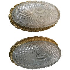 One Great Pair of Textured Glass and Surrounded Gilded Brass Limburg Sconces