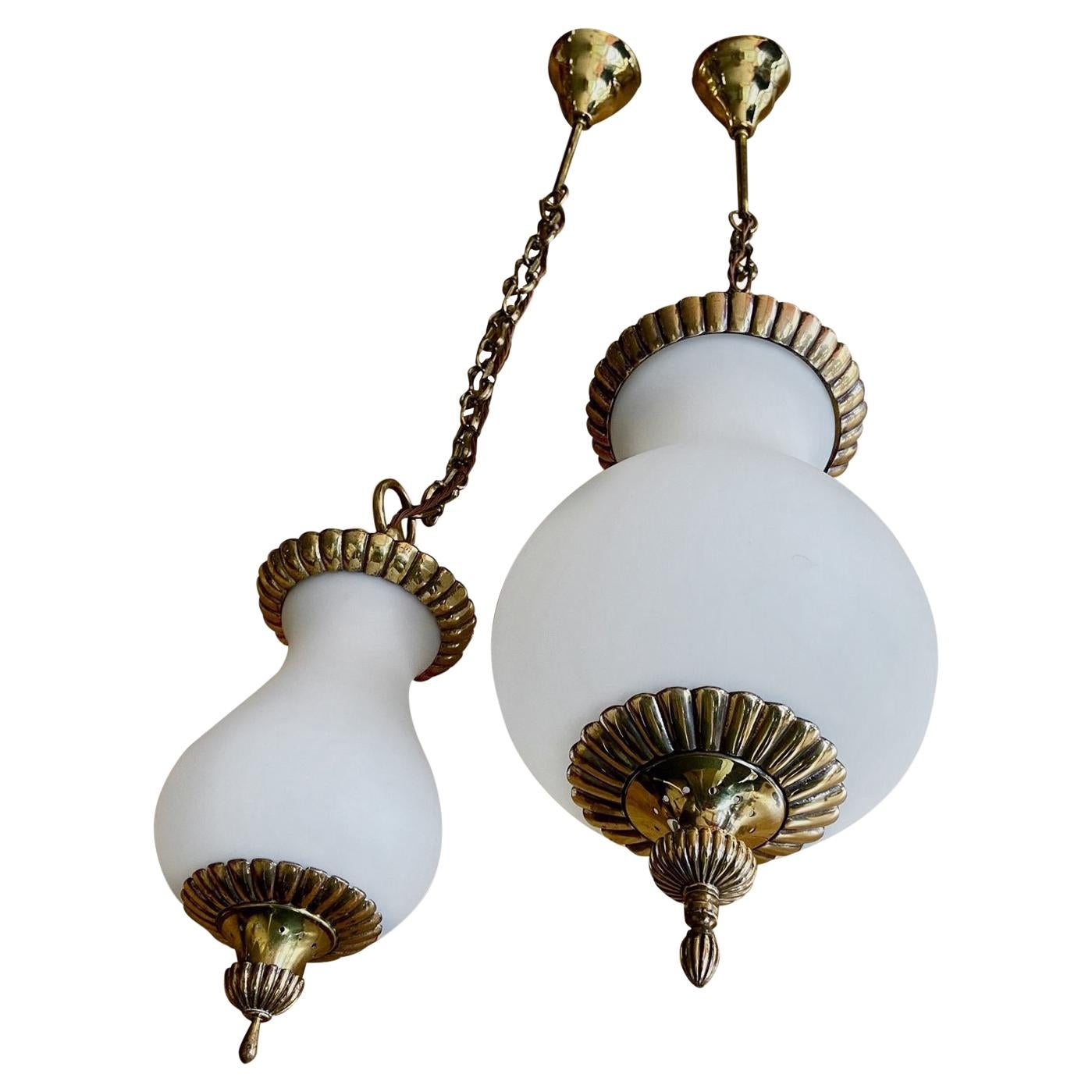 One Large and One Small Glass and Brass Lanterns or Pendant Lights