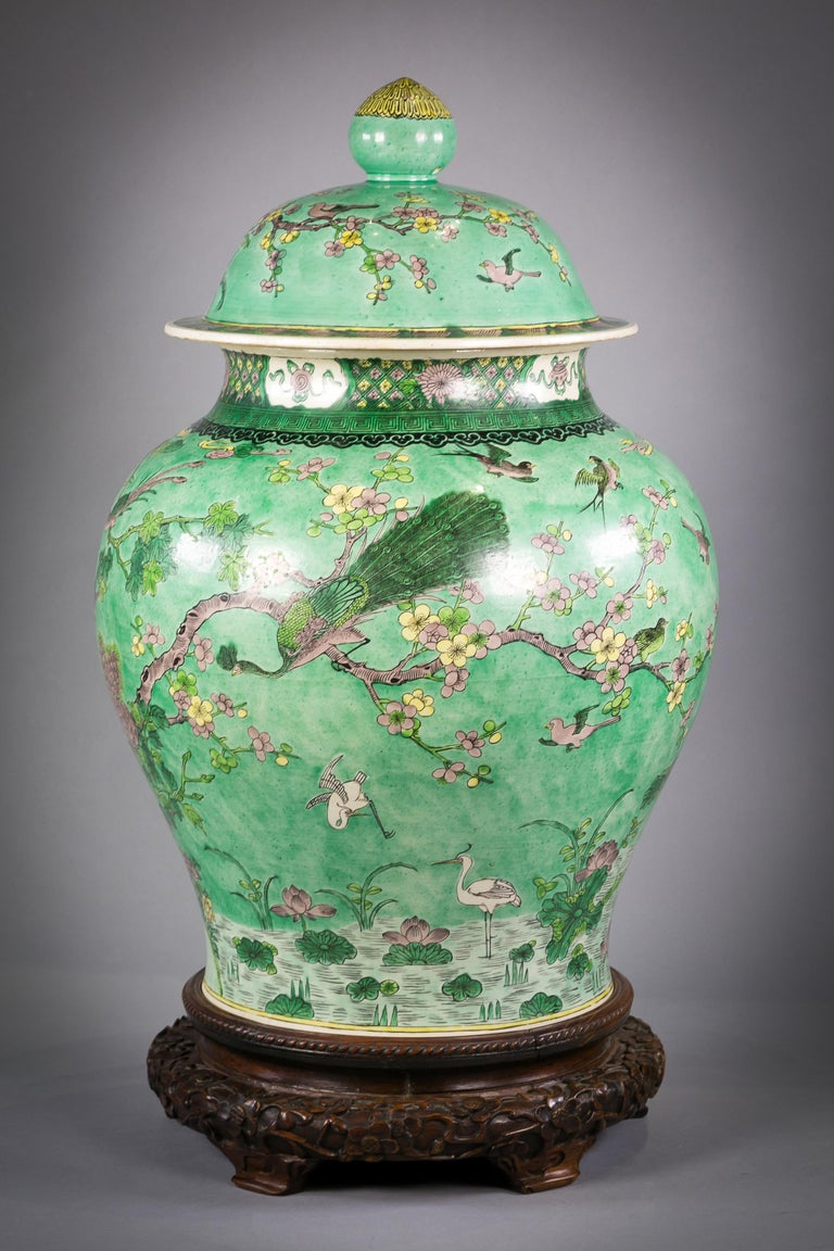 Mid-19th Century One Large Chinese Porcelain Famille Verte Covered Vase on Stand, circa 1860 For Sale