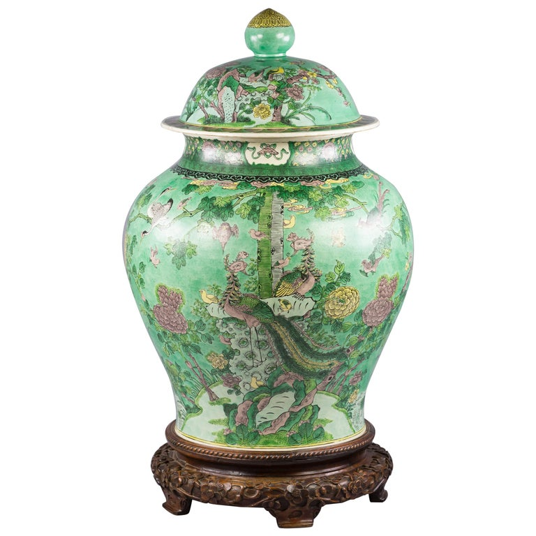 One Large Chinese Porcelain Famille Verte Covered Vase on Stand, circa 1860 For Sale