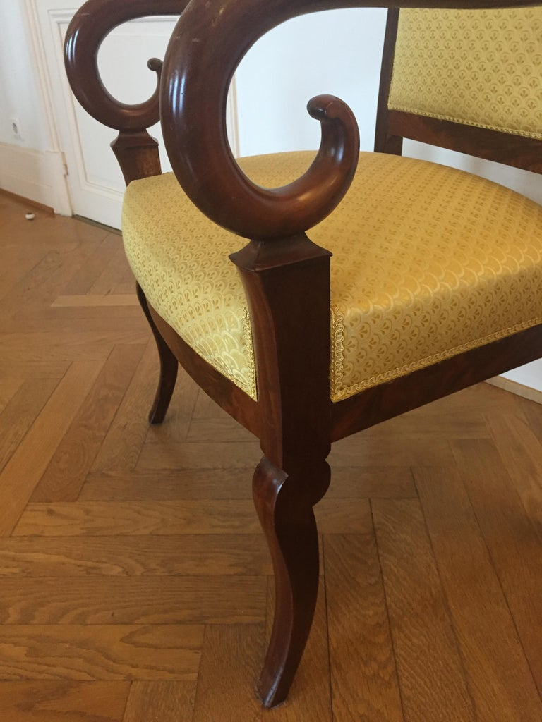 Elegant and great design, comfortable armchair in mahogany.