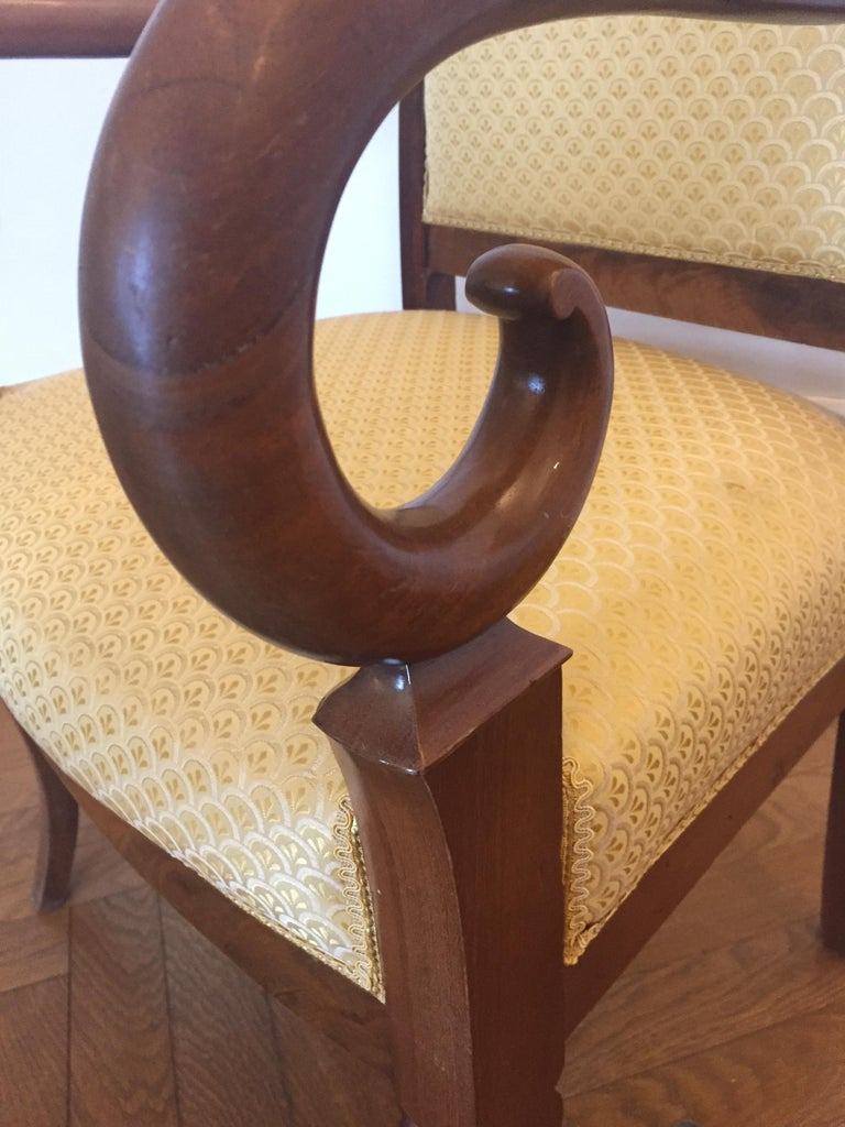 One Mahogany French Louis Phillipe Desk or Living Room Armchair In Good Condition For Sale In Miami, FL