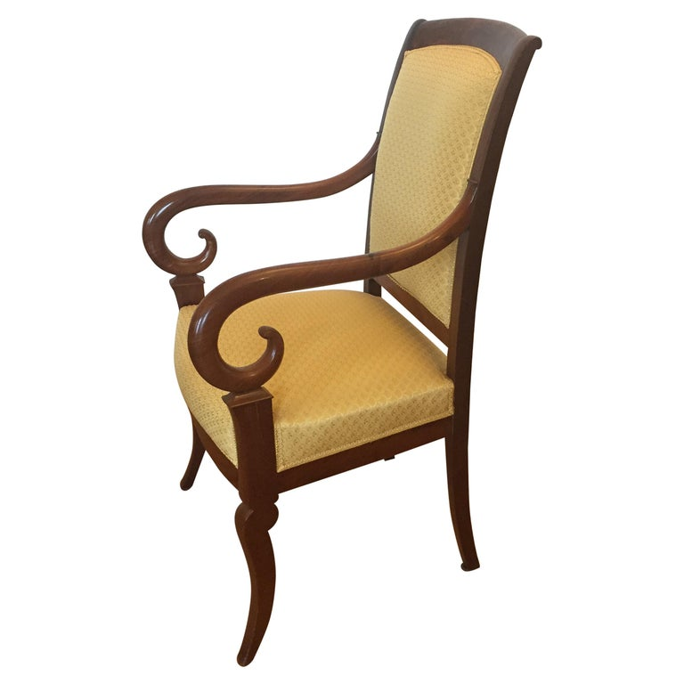 One Mahogany French Louis Phillipe Desk or Living Room Armchair For Sale