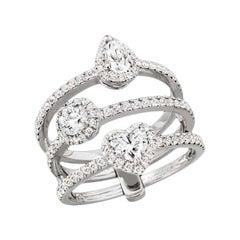 "Messika ""Joy Solitaire"" Trilogoy Ring Set with Diamonds an 18 Karat Gold"