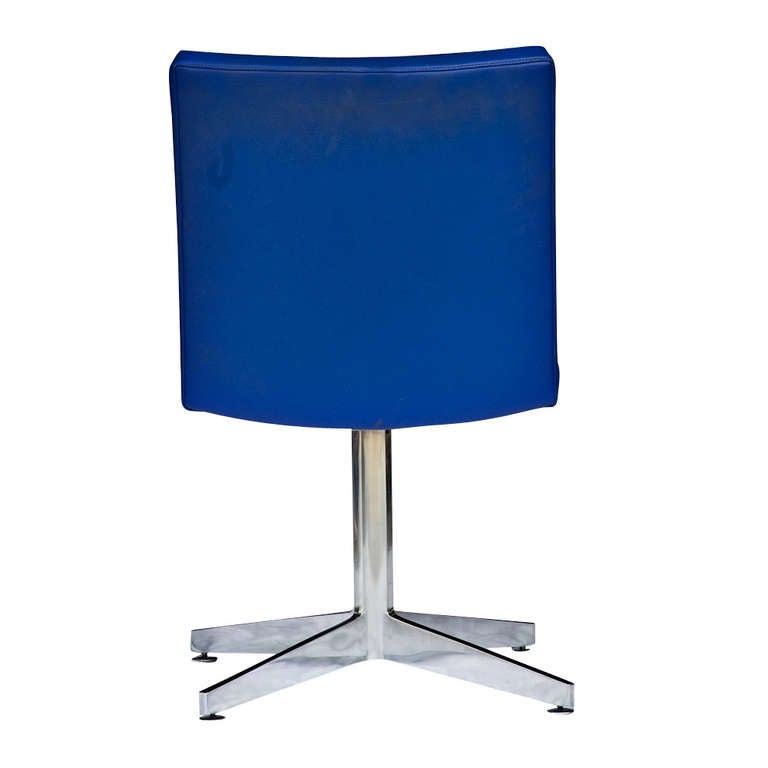 Mid-Century Modern One GF General Fireproofing Side Chair with Polished Aluminum Frame and Base For Sale